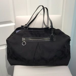 Coach Signature Black Canvas Satchel/Hand Bag